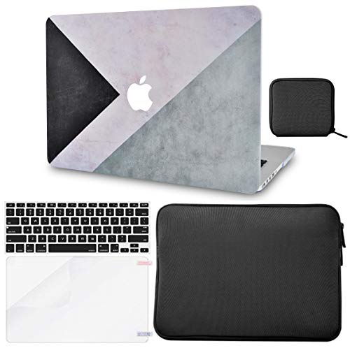 Macbook Case 5 in 1 Bundle - Color Collection - Black White Grey with Slim Sleeve, Keyboard Cover, Screen Protector and Pouch