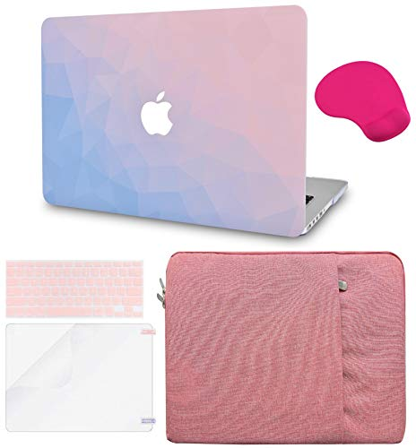 Macbook Case 5 in 1 Bundle - Color Collection - Ombre Pink Blue with Sleeve, Keyboard Cover, Screen Protector and Mouse Pad