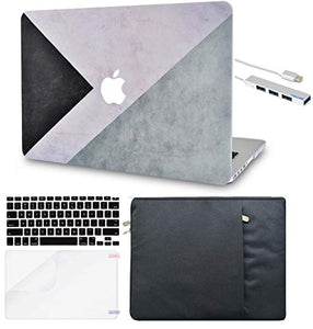 Macbook Case 5 in 1 Bundle - Color Collection - Black White Grey with Sleeve, Keyboard Cover, Screen Protector and USB Hub 3.0