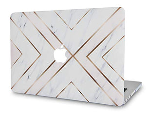 Macbook Case 5 in 1 Bundle - Marble Collection - White Marble Gold Stripes with Slim Sleeve, Keyboard Cover, Screen Protector and Pouch