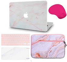 Load image into Gallery viewer, Macbook Case 5 in 1 Bundle - Marble Collection - Pink Marble with Sleeve, Keyboard Cover, Screen Protector and Mouse Pad