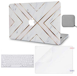 Macbook Case 4 in 1 Bundle - Marble Collection - White Marble Gold Stripes with Keyboard Cover, Screen Protector and Pouch