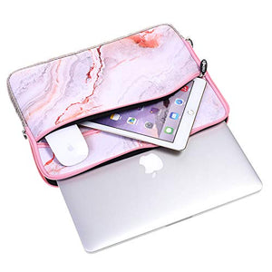 Macbook Case 5 in 1 Bundle - Marble Collection - Pink Marble with Sleeve, Keyboard Cover, Screen Protector and Mouse Pad