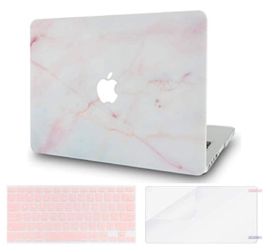 Macbook Case Bundle - Marble Collection - Pink Marble with Keyboard Cover and Screen Protector