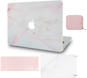 Macbook Case 4 in 1 Bundle - Marble Collection - Pink Marble with Keyboard Cover, Screen Protector and Pouch