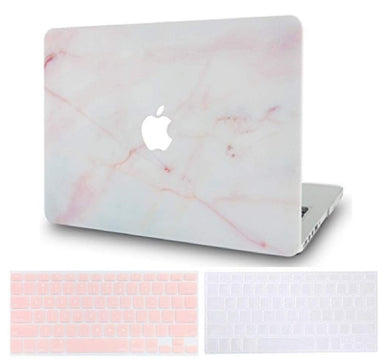 Macbook Case Bundle - Marble Collection - Pink Marble with 2 Keyboard Covers