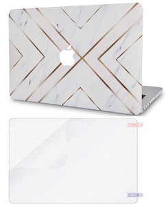 Macbook Case Bundle - Marble Collection - White Marble Gold Stripes with Screen Protector