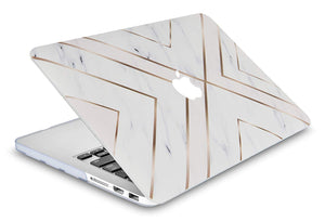 Macbook Case 5 in 1 Bundle - Marble Collection - White Marble Gold Stripes with Sleeve, Keyboard Cover, Screen Protector and Mouse Pad