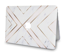 Load image into Gallery viewer, Macbook Case Bundle - Marble Collection - White Marble Gold Stripes with Keyboard Cover