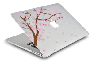 Macbook Case Bundle - Flower Collection - Cartoon Cherry Blossom with Keyboard Cover