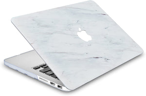 Macbook Case 5 in 1 Bundle - Marble Collection - Silk White Marble with Sleeve, Keyboard Cover, Screen Protector and USB Hub 3.0