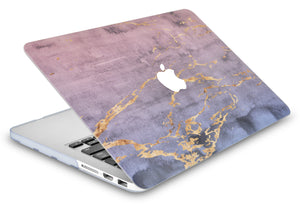 MacBook Case - Marble Collection - Metal Marble with Slim Sleeve, Keyboard Cover, Screen Protector and Pouch