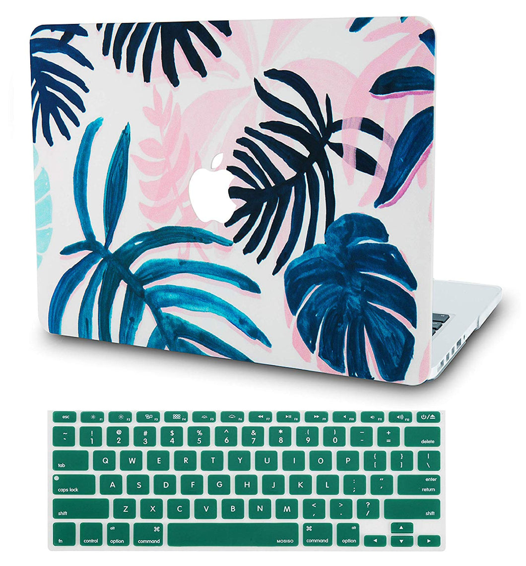 Macbook Case Bundle - Flower Collection - Tropical Leaves with Keyboard Cover