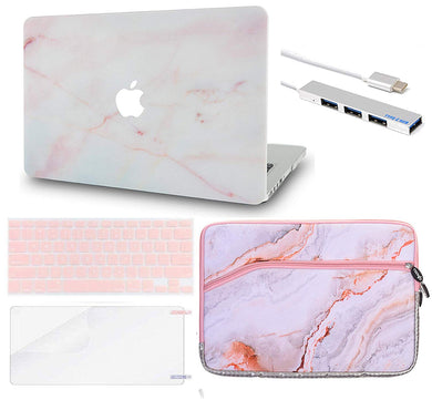 Macbook Case Bundle - Marble Collection - Pink Marble with Sleeve, Keyboard Cover, Screen Protector and USB Hub 3.0