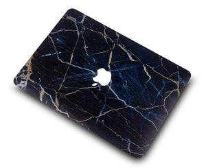 Macbook Case - Marble Collection - Navy White Marble