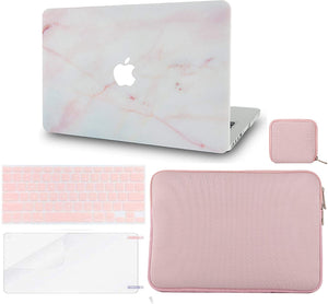 Macbook Case 5 in 1 Bundle - Marble Collection - Pink Marble with Slim Sleeve, Keyboard Cover, Screen Protector and Pouch