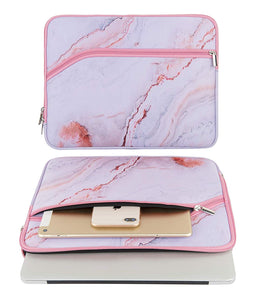 Macbook Case 5 in 1 Bundle - Marble Collection - Pink Marble with Sleeve, Keyboard Cover, Screen Protector and USB Hub 3.0