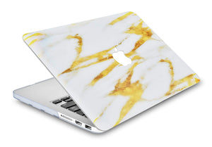 Macbook Case - Marble Collection - Gold Slash Marble