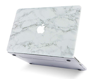 Macbook Case Bundle - Marble Collection - White Marble with Grey Veins with Keyboard Cover