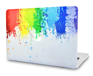 Macbook Case Bundle - Color Collection - Rainbow Splat with Keyboard Cover and Webcam Cover