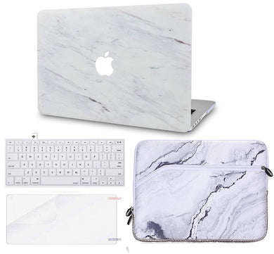 Macbook Case Bundle - Marble Collection - Silk White Marble with Keyboard Cover and Screen Protector and Sleeve
