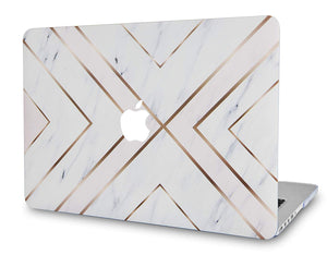 Macbook Case Bundle - Marble Collection - White Marble Gold Stripes with Keyboard Cover