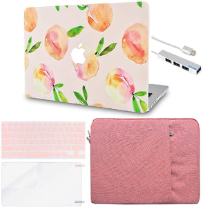 Macbook Case 5 in 1 Bundle - Paint Collection - Orange with Sleeve, Keyboard Cover, Screen Protector and USB Hub 3.0
