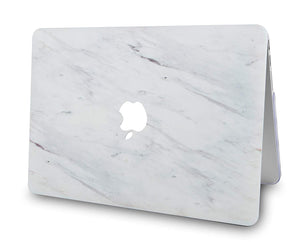 Macbook Case 5 in 1 Bundle - Marble Collection - Silk White Marble with Slim Sleeve, Keyboard Cover, Screen Protector and Pouch