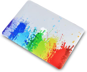 Macbook Case 4 in 1 Bundle - Paint Collection - Rainbow Splat with Keyboard Cover, Screen Protector and Pouch