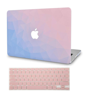 Macbook Case Bundle - Color Collection - Ombre Pink Blue with Keyboard Cover