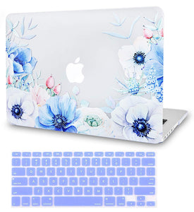 Macbook Case Bundle - Flower Collection - Blue and White Poppy with Keyboard Cover