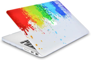 Macbook Case 5 in 1 Bundle - Paint Collection - Rainbow Splat with Slim Sleeve, Keyboard Cover, Screen Protector and Pouch
