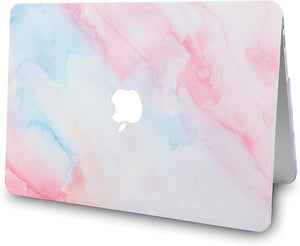 Macbook Case 5 in 1 Bundle - Paint Collection - Pale Pink Mist with Sleeve, Keyboard Cover, Screen Protector and USB Hub 3.0