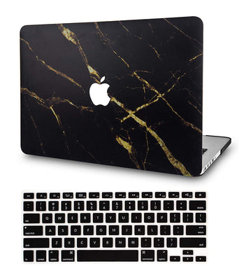 Macbook Case Bundle - Marble Collection - Black Gold Marble with Keyboard Cover