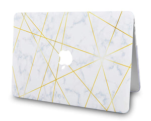 Macbook Case - Marble Collection - White Cloud Marble Gold Veins