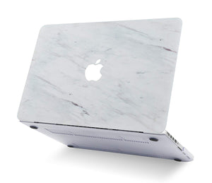 Macbook Case 4 in 1 Bundle - Marble Collection - Silk White Marble with Keyboard Cover, Screen Protector and Pouch