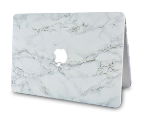 Macbook Case - Marble Collection - White Marble with Grey Veins