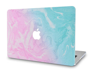 Macbook Case - Marble Collection - Teal and Pink Marble