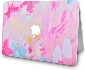 Macbook Case 5 in 1 Bundle - Marble Collection - Pink Mist 2 with Slim Sleeve, Keyboard Cover, Screen Protector and Pouch