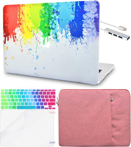 Macbook Case 5 in 1 Bundle - Paint Collection - Rainbow Splat with Sleeve, Keyboard Cover, Screen Protector and USB Hub 3.0