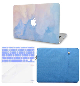 Macbook Case Bundle - Paint Collection - Blue Mist with Keyboard Cover and Screen Protector and Sleeve