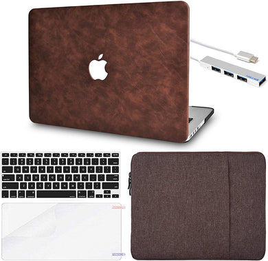 Macbook Case 5 in 1 Bundle - Leather Collection - Brown Cow Leather with Sleeve, Keyboard Cover, Screen Protector and USB Hub 3.0