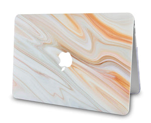 Macbook Case - Marble Collection - White Marble with Brown Veins