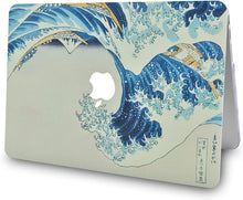 Load image into Gallery viewer, Macbook Case 4 in 1 Bundle - Paint Collection - Japanese Wave with Keyboard Cover, Screen Protector and Pouch