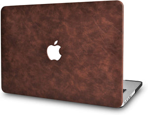 Macbook Case 5 in 1 Bundle - Leather Collection - Brown Cow Leather with Sleeve, Keyboard Cover, Screen Protector and Mouse Pad