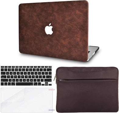 Macbook Case Bundle - Leather Collection - Brown Cow Leather with Keyboard Cover and Screen Protector and Sleeve