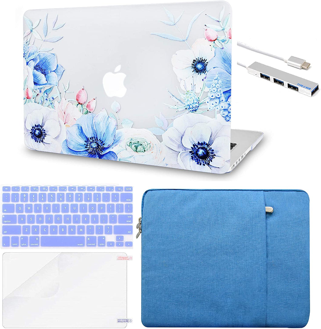 Macbook Case 5 in 1 Bundle - Flower Collection - Blue and White Poppy with Sleeve, Keyboard Cover, Screen Protector and USB Hub 3.0