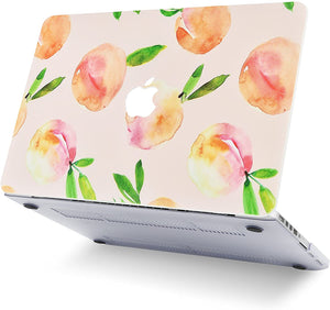 Macbook Case 5 in 1 Bundle - Marble Collection - Orange with Slim Sleeve, Keyboard Cover, Screen Protector and Pouch