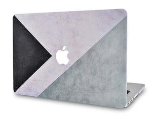 Macbook Case 4 in 1 Bundle - Color Collection - Black White Grey with Keyboard Cover, Screen Protector and Pouch