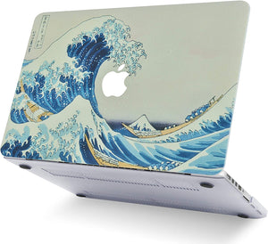 Macbook Case 4 in 1 Bundle - Paint Collection - Japanese Wave with Keyboard Cover, Screen Protector and Pouch